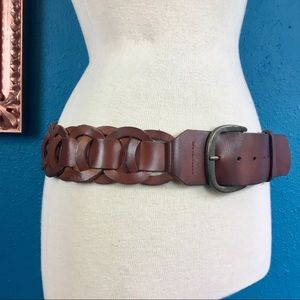 Hollister brown leather woven circle belt, M